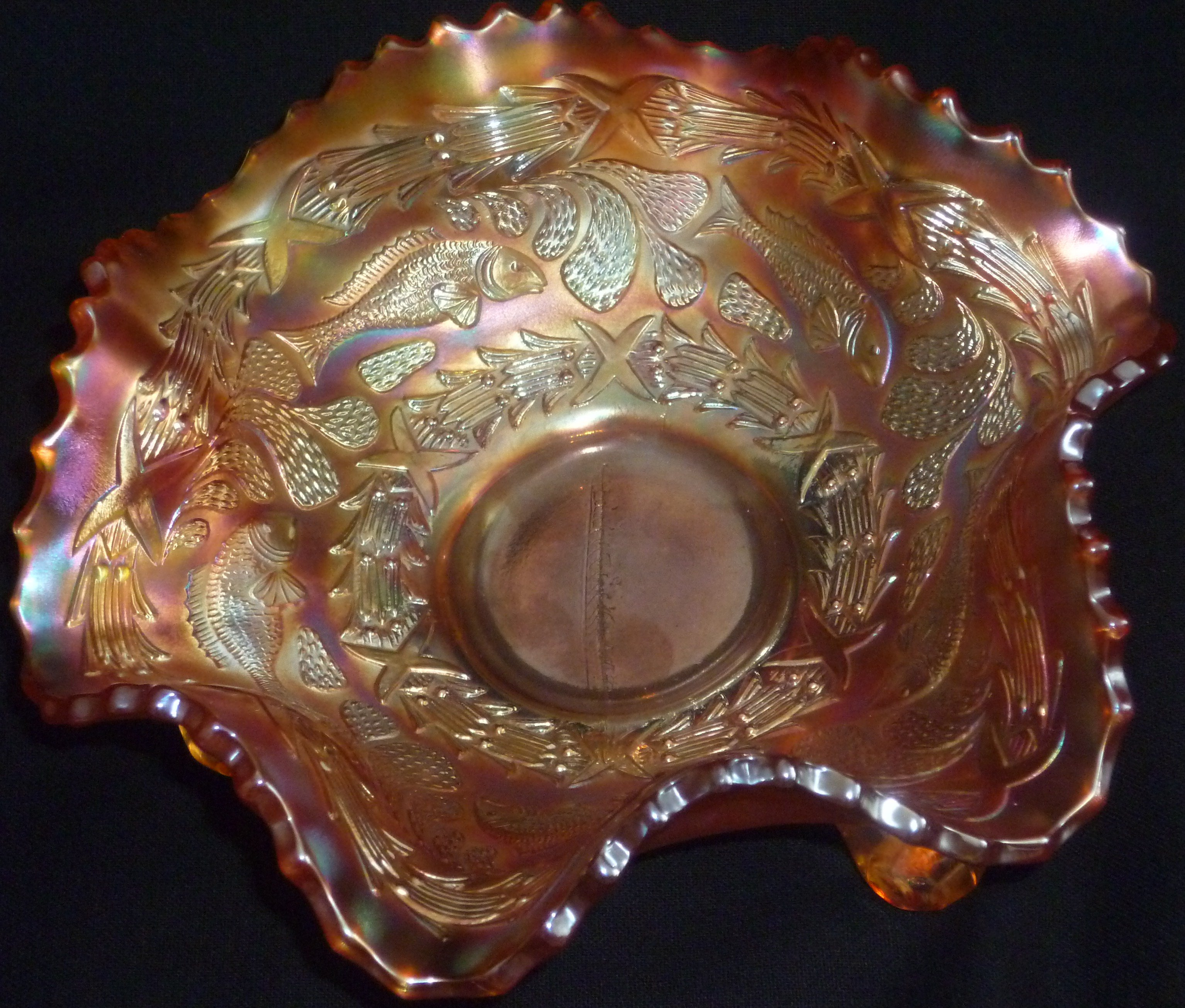 FOR SALE: Marigold LITTLE FISHES Small Ruffled Bowl Fenton c.1915