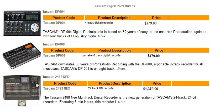 FOR SALE: Find Tascam Digital Portastudios at Guitar Paradise