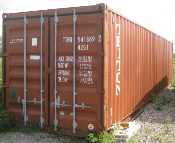 OFFERED: FOR SALE USED STEEL STORAGE CONTAINER - SHIPPING CONTAINER