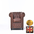 FOR SALE: Original Chesterfield vintage brown  1 seater  sofa-Real leather -HANDMADE
