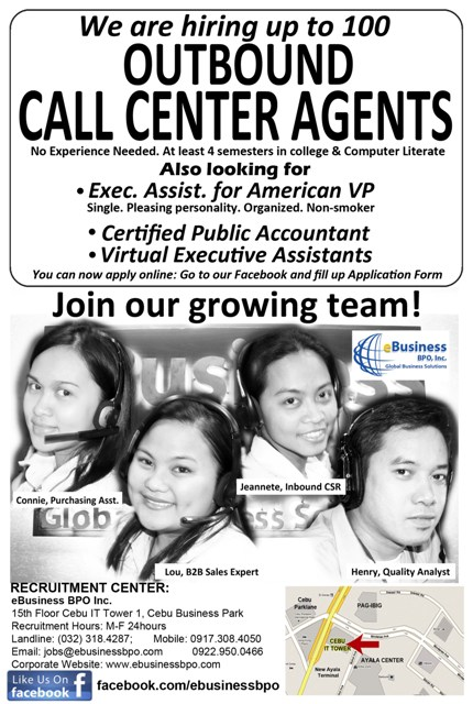 JOB OFFERED: We are hiring up to 100 Outbound Call Center Agents