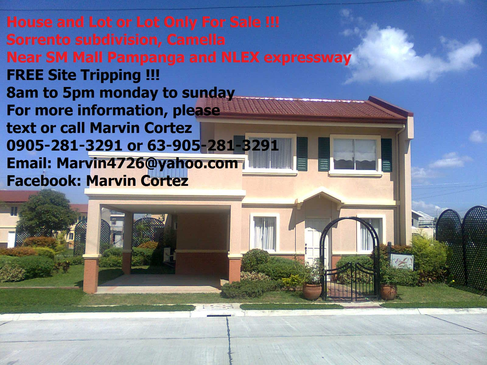 FOR SALE: house and lot for sale at Elaisa model at Sorrento subdivision, Camella Pampanga
