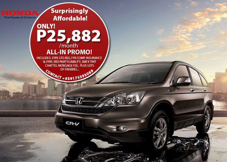 FOR SALE: 2011 HONDA CR-V 2000cc V 4X2 AT ONLY P25882 a month